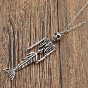 Skeleton Mermaid Pendant Necklace